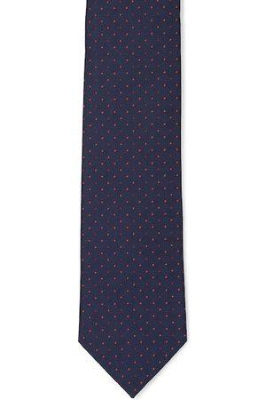 Van Heusen Men Navy Blue & Red Woven Design Broad Tie