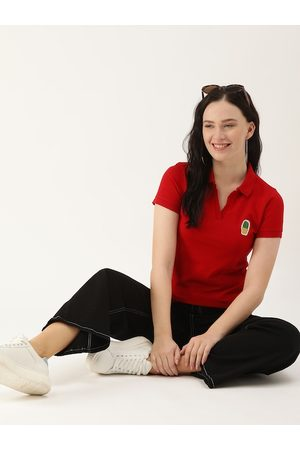 DressBerry Women Red Solid Cotton Polo Collar T-shirt with Cactus Applique Detail