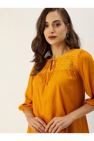 all about you Mustard Yellow Tie-Up Neck Puff Sleeve Regular Top