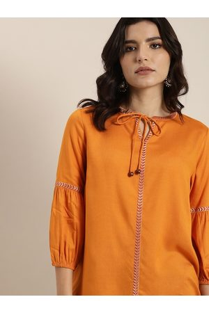 all about you Orange Embroidered Tie-Up Neck Blouson Top