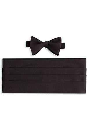 David Donahue Men Bow Ties - Silk Hook Bow Tie & Cummerbund Set