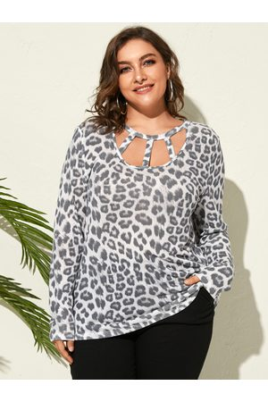 YOINS Plus Size Leopard Cut Out Long Sleeves Tee