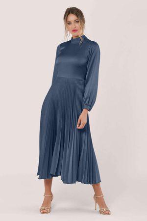 Closet Navy Long Sleeve Pleated Midi Dress