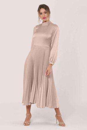Closet Women Midi Dresses - Blush Long Sleeve Pleated Midi Dress