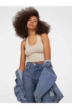 H&M Women Beige Halterneck Cropped Top