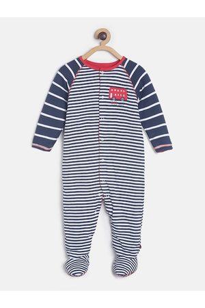 MINI KLUB Infant Boys Navy Blue & White Striped Pure Cotton Sleepsuit