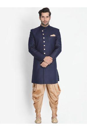 VASTRAMAY Men Navy Blue & Gold-Coloured Slim-Fit Sherwani Set