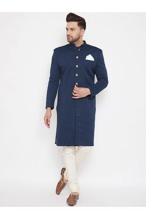 VASTRAMAY Men Navy Blue & Cream-Coloured Silk Blend Sherwani Set