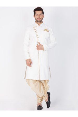 VASTRAMAY Men White & Gold-Coloured Solid Slim-Fit Sherwani Set