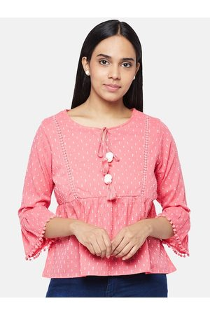 People Coral Checked Tie-Up Neck Bell Sleeve Empire Top