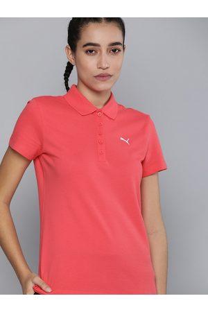 Puma Women Pink Brand Logo Printed Polo Collar T-shirt