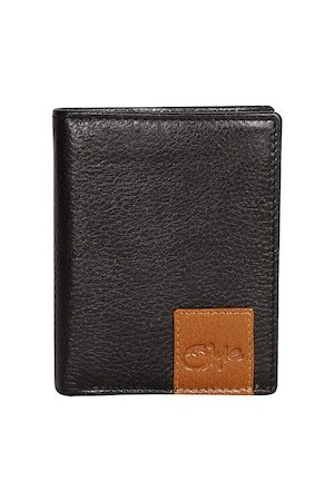 Style SHOES Men Black & Brown Textured Leather Two Fold Wallet