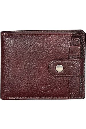 Style SHOES Men Coffee Brown Textured Leather Two Fold Wallet