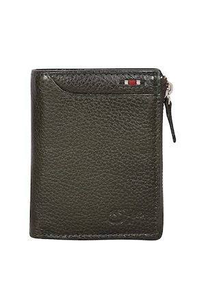 Style SHOES Men Green Textured Leather Zip Around Wallet