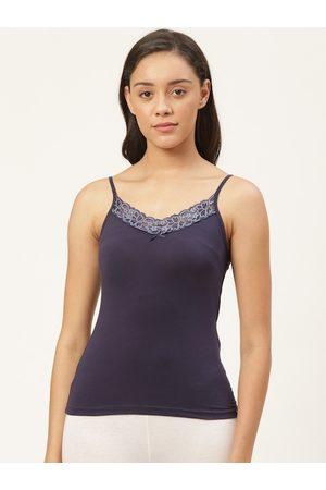 Jockey Women Navy Blue Lace Detail Camisole