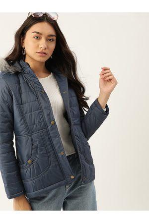 DressBerry Women Navy Blue Solid Parka Jacket
