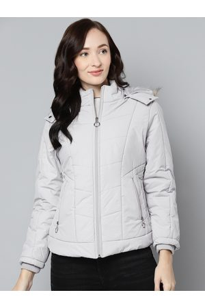 Foreign Culture By Fort Collins Women Grey Solid Parka Jacket with Detachable Hood