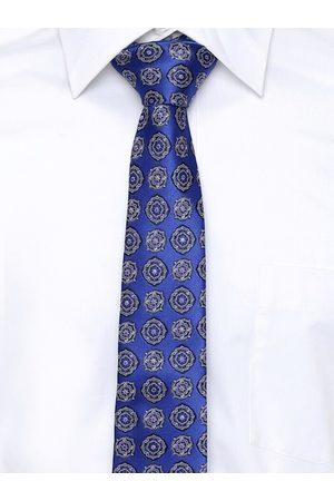 Alvaro Castagnino Men Blue & White Printed Broad Tie