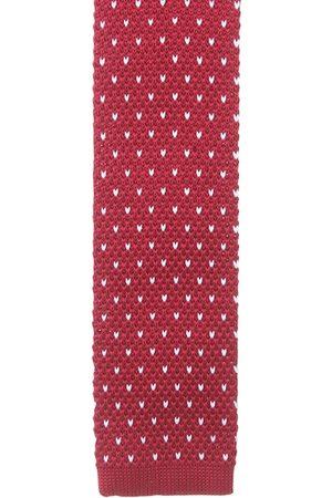 Alvaro Castagnino Men Red & White Woven Design Skinny Tie