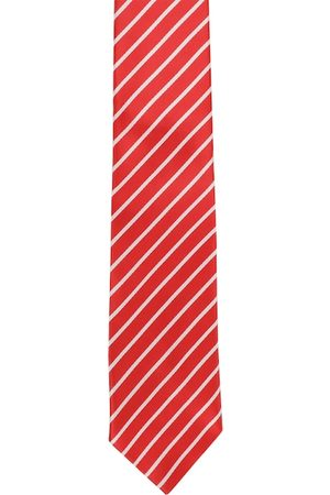 Alvaro Castagnino Men Red & White Striped Broad Tie