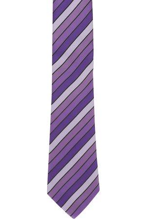 Alvaro Castagnino Men Purple & Black Striped Broad Tie