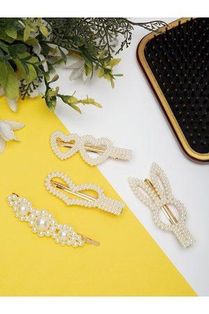 YouBella Women White & Gold-Toned Set of 4 Embellished Hair Accessory Set