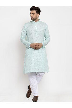 KRAFT INDIA Men Sea Green Ethnic Motifs Printed Regular Kurta with Pyjamas