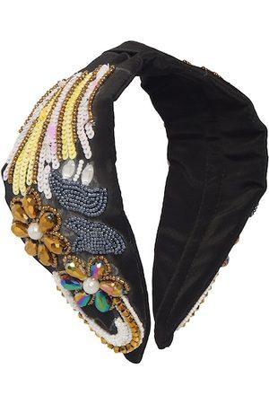 Bella Moda Women Black & Gold-Toned Embellished Hairband