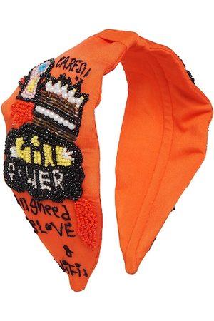 Bella Moda Women Orange & Black Embellished Hairband