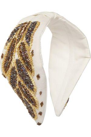 Bella Moda Women White & Brown Embellished Hairband