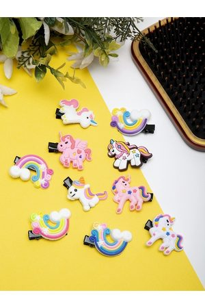 YouBella Women Pack Of 10 Multi-Colored Unicorn Style Hair Clips