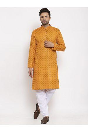 KRAFT INDIA Men Mustard & Brown Ethnic Motifs Printed Regular Kurta With Pyjamas