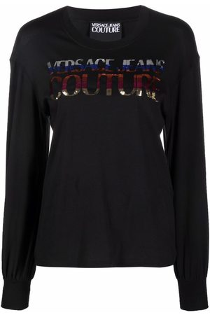 Versace Jeans Couture Sequined logo long-sleeve T-shirt
