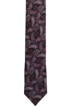 Alvaro Castagnino Men Purple & Black Woven Design Broad Tie
