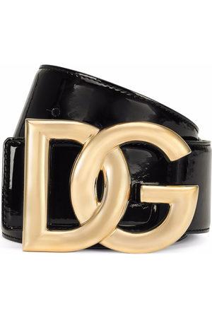 Dolce & Gabbana Patent DG-logo buckle belt