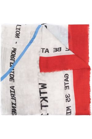 Faliero Sarti Slogan-print frayed scarf