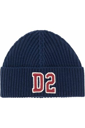 Dsquared2 Kids Ribbed-knit logo-patch beanie