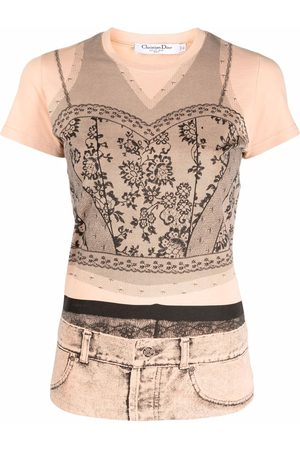 Dior Women Short Sleeve - 2006 pre-owned trompe l'oeil lace T-shirt