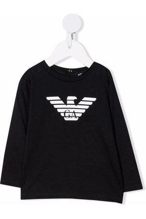 Emporio Armani Kids Long Sleeve - Logo-print cotton T-Shirt
