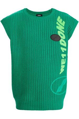 We11 Done Ribbed logo-knit sleeveless vest