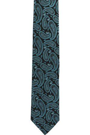 Alvaro Castagnino Men Black & Turquoise Blue Woven Design Broad Tie