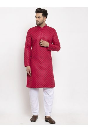 KRAFT INDIA Men Pink Ethnic Motifs Regular Kurta with Pyjamas