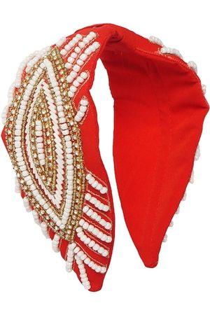 Bella Moda Women Hair Accessories - Women Red & White Embellished Hairband
