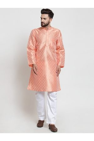 NEUDIS Men Peach-Coloured Ethnic Motifs Regular Dupion Silk Kurta with Pyjamas