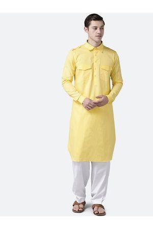 See Designs Men Yellow Regular Pure Cotton Kurta with Salwar