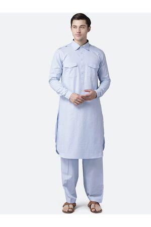 See Designs Men Blue Regular Pure Cotton Kurta with Salwar