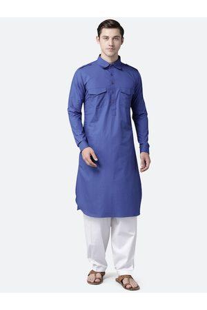 See Designs Men Blue Pleated Pure Cotton Kurta with Salwar