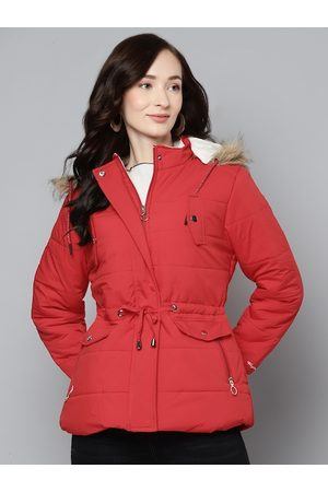 Foreign Culture By Fort Collins Women Red Solid Parka Jacket With Detachable Hood