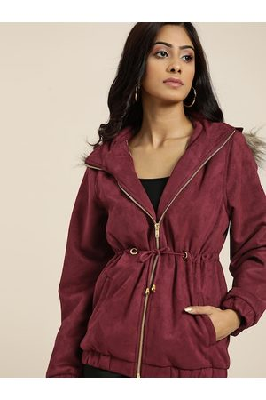 all about you Women Maroon Solid Hooded Parka Jacket