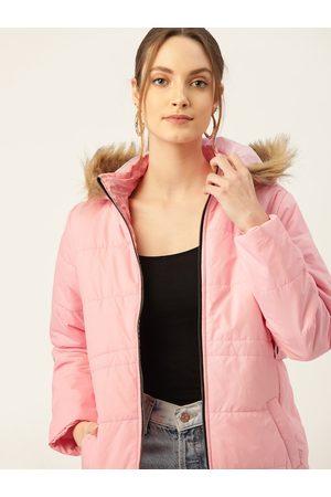 DressBerry Women Pink Solid Hooded Faux Fur Parka Jacket